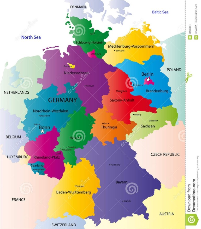 Map Of Germany Stock Vector. Illustration Of Illustration - 6066854 for Germany Map With Neighbouring Countries