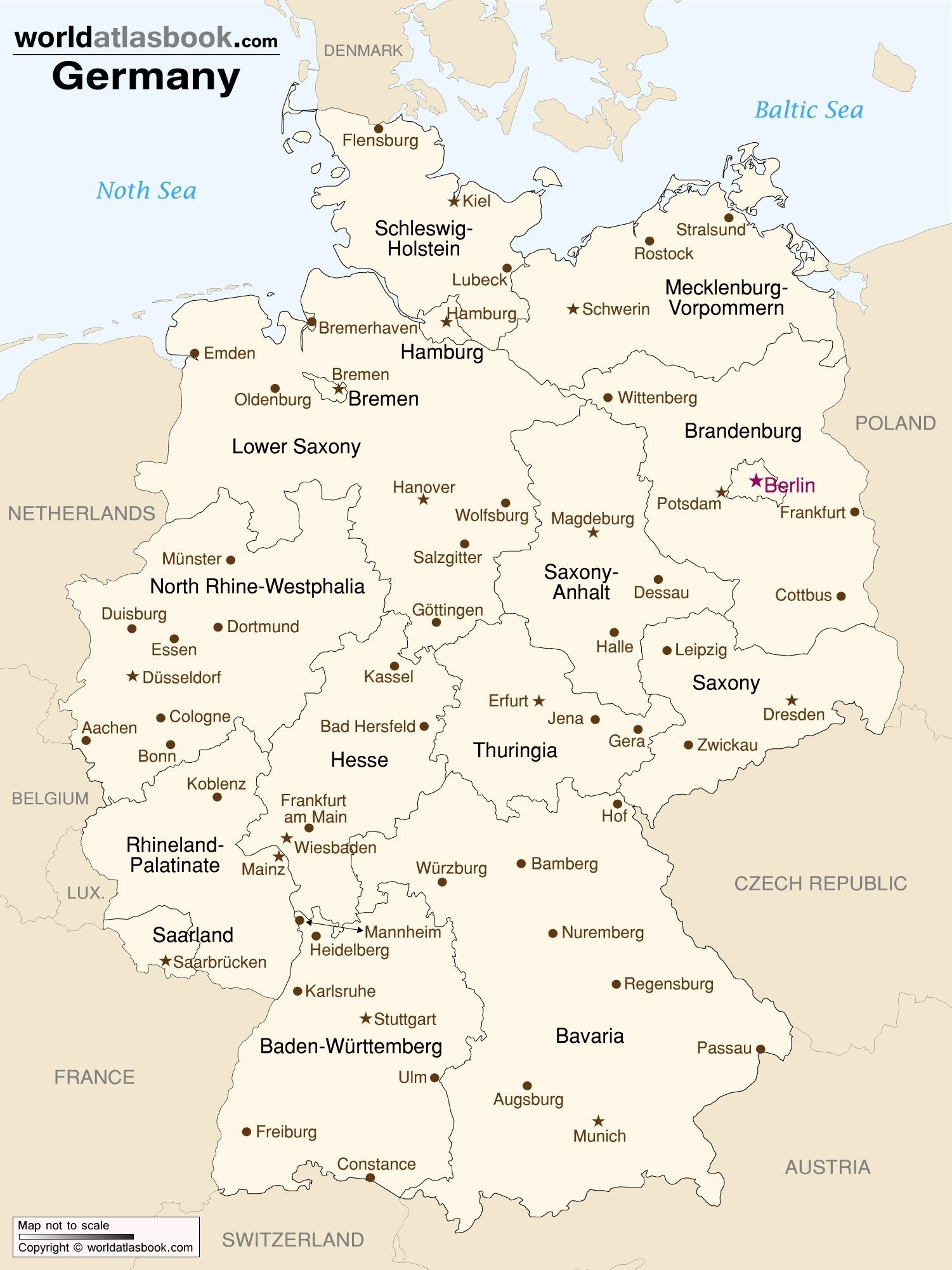 Map Of Germany With States And Cities | Germany | Map, Germany inside Germany Map States Cities
