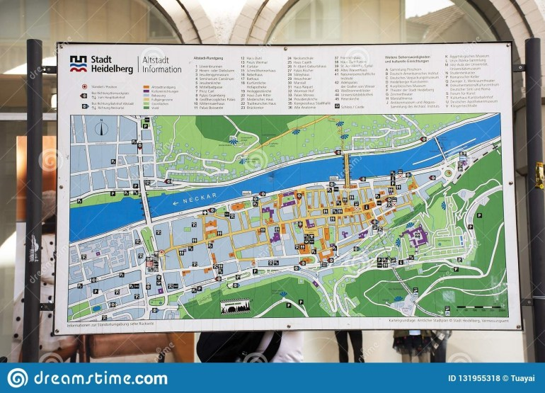 Map Of Landmarks Of Heidelberger Old Town For Tour At with City Map Of Heidelberg Germany