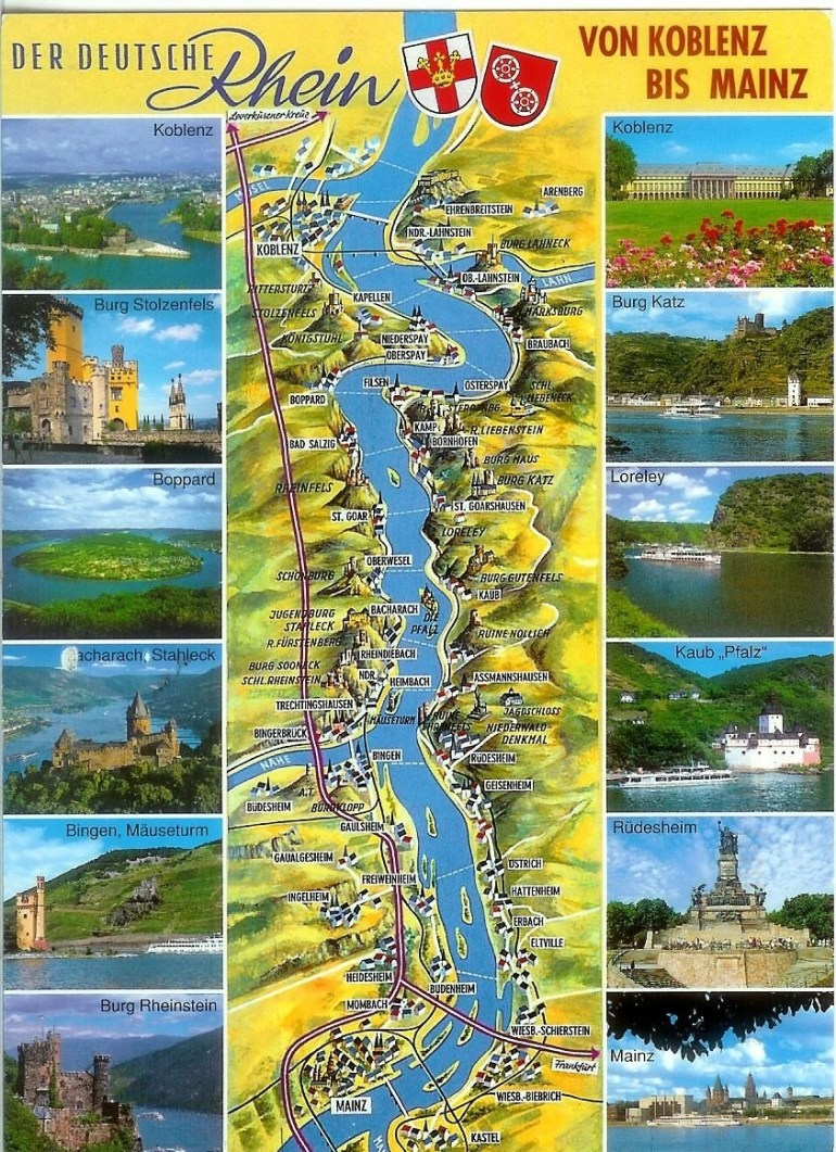 Map Of The German Rhine River Valley | Rhineland-Palatinate | Rhine for Rhine River Germany Map