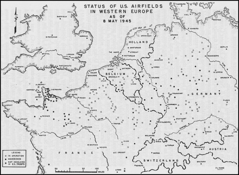 Map Of Us Airfields In Western #europe, May 1945 #ww2 | ✈ Travel with Map Of German Ww2 Airfields