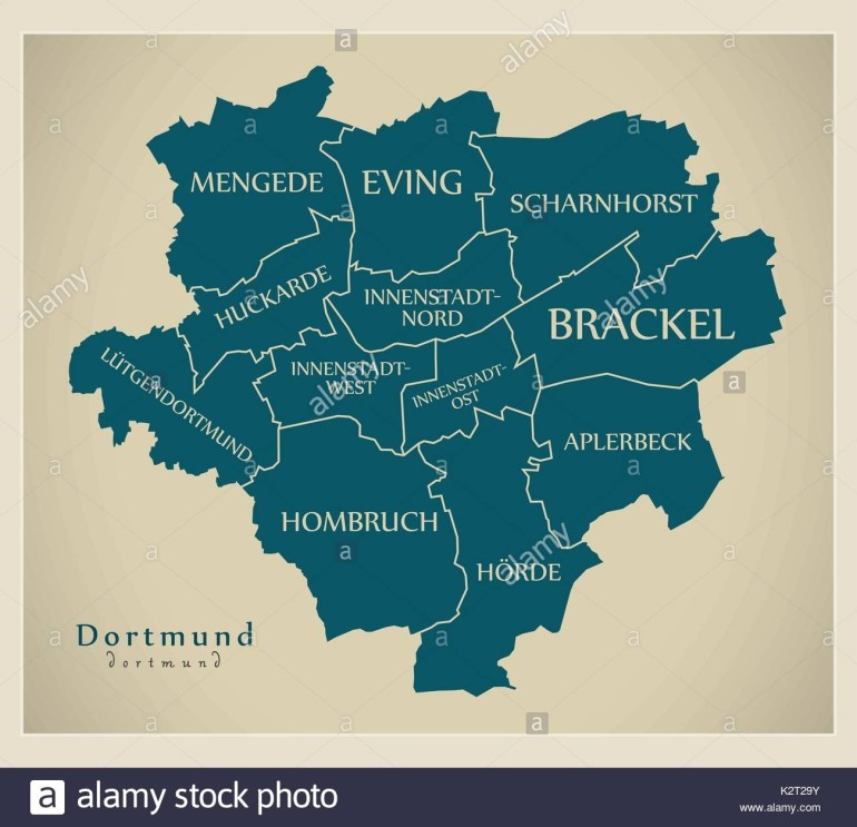 Modern City Map - Dortmund City Of Germany With Boroughs And Titles regarding Where Is Dortmund Germany On The Map
