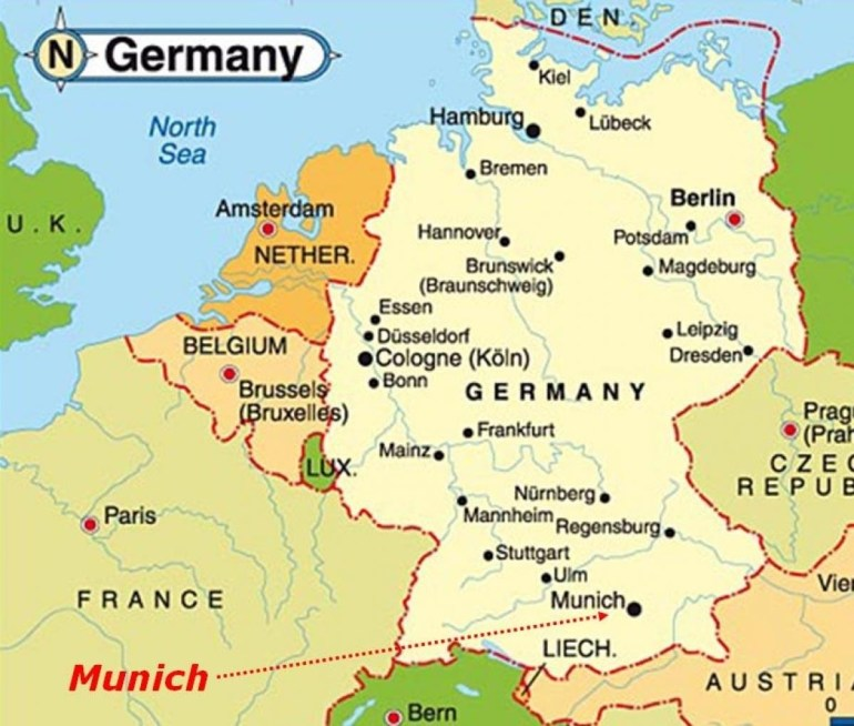 Munich Map Europe - Map Of Munich Europe (Bavaria - Germany) for Hamburg Germany Map Europe