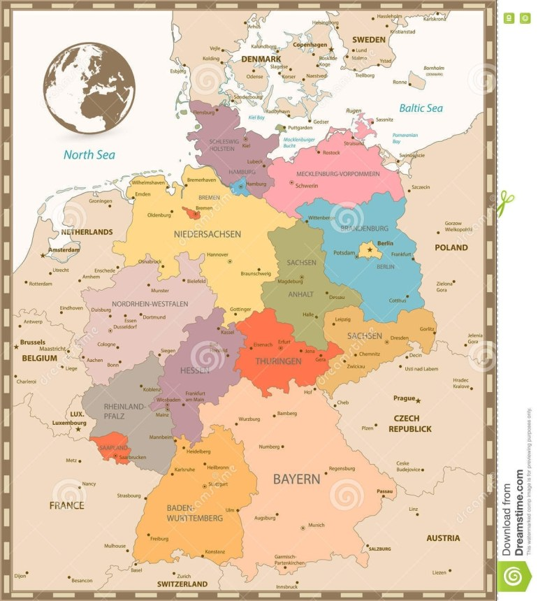 Old Retro Color Map Of Germany Stock Vector - Illustration Of in Old World Map Of Germany