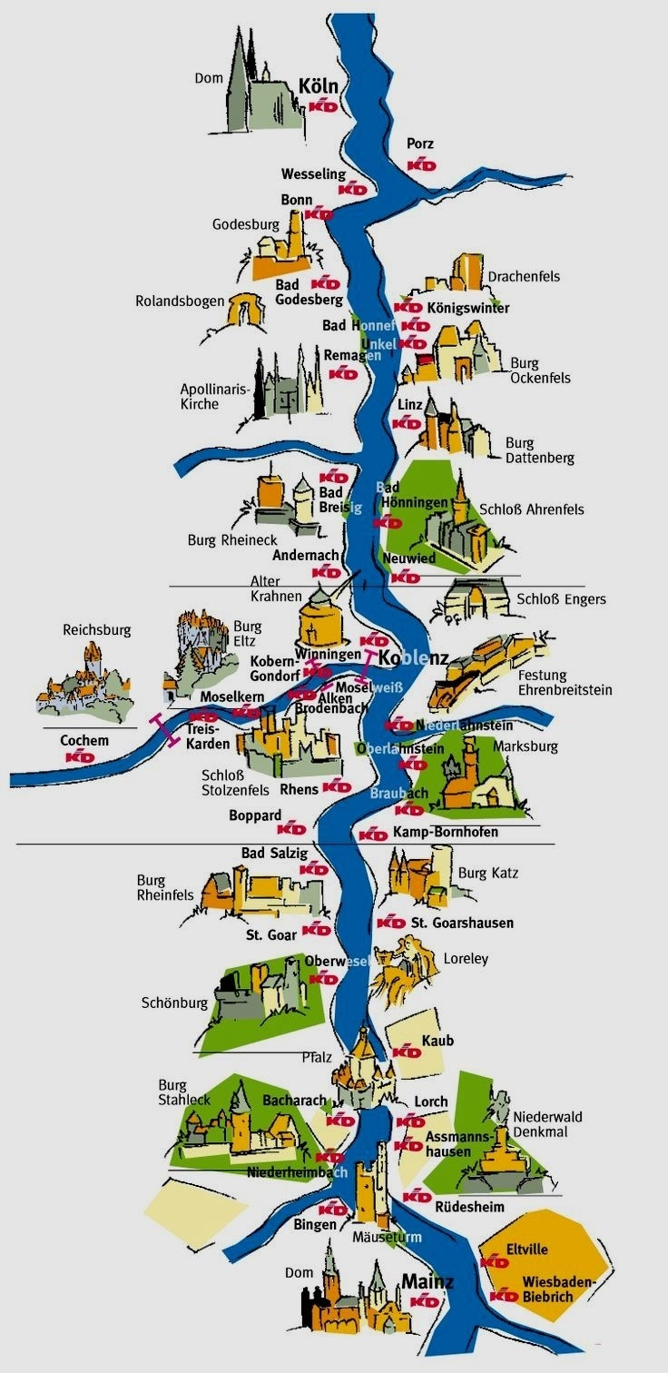 Pingermany On Germany Travell | Rhine River Cruise, Germany throughout Rhine River Germany Map