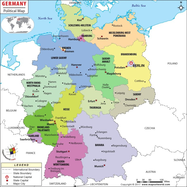 Political Map Of Germany | Germany States Map regarding German States And Capitals Map