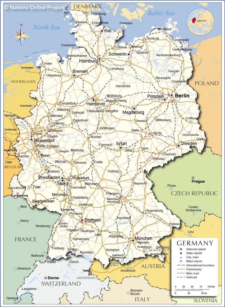 Political Map Of Germany - Nations Online Project regarding Map Of Germany And Surrounding Countries With Cities