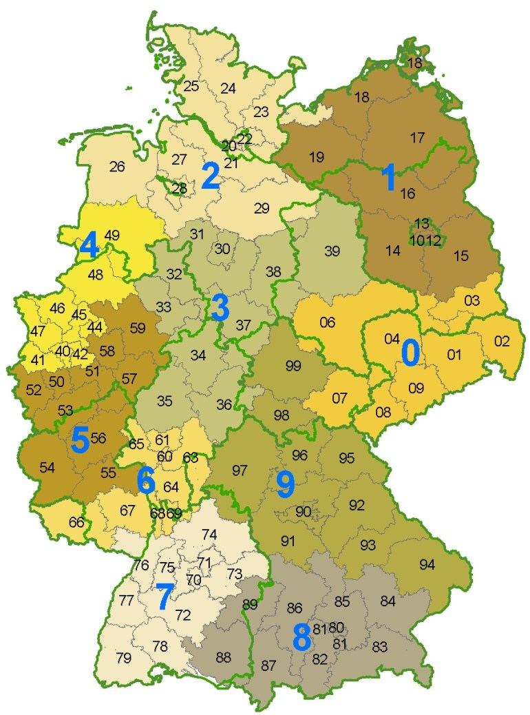Postal Codes In Germany - Wikipedia with Map Of Germany With States And Capitals In German