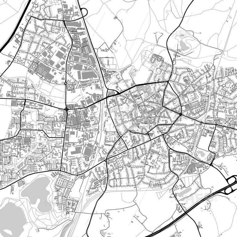 Ratingen, Germany, Vector Map With Buildings with regard to Map Of Gutersloh Germany