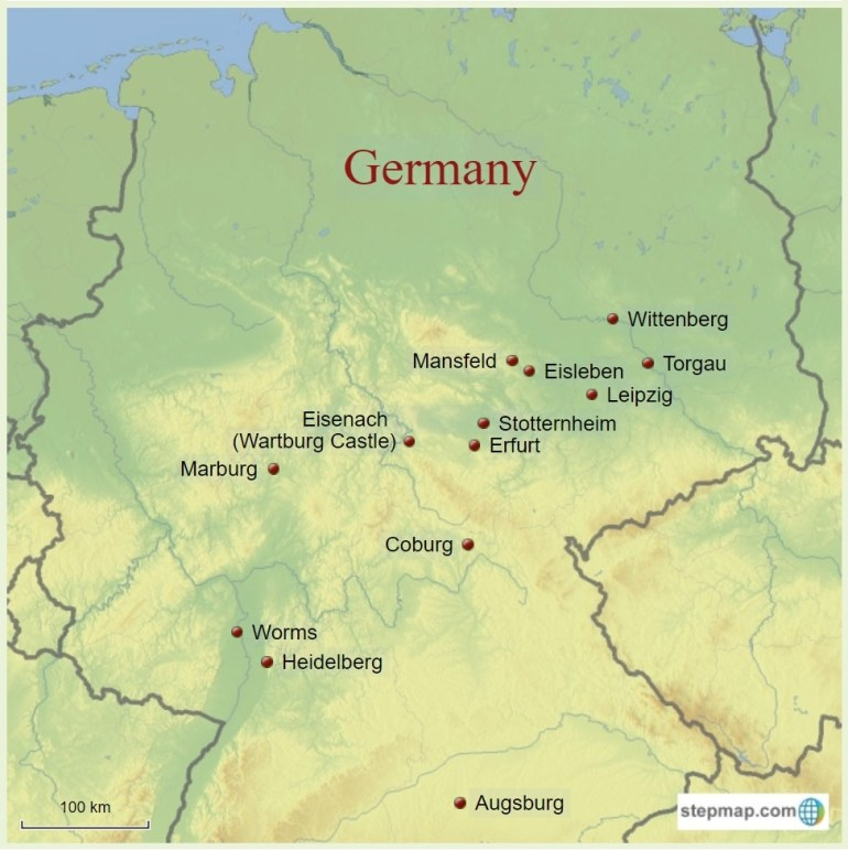 Reformationstag (Reformation Day) - Map Of Luther's Germany| Have in Eisenach Germany Map