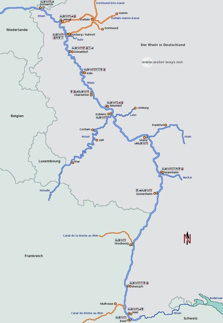 Rhine River | Germany | European-Waterways.eu: Description Of Waters regarding Rhine River Germany Map