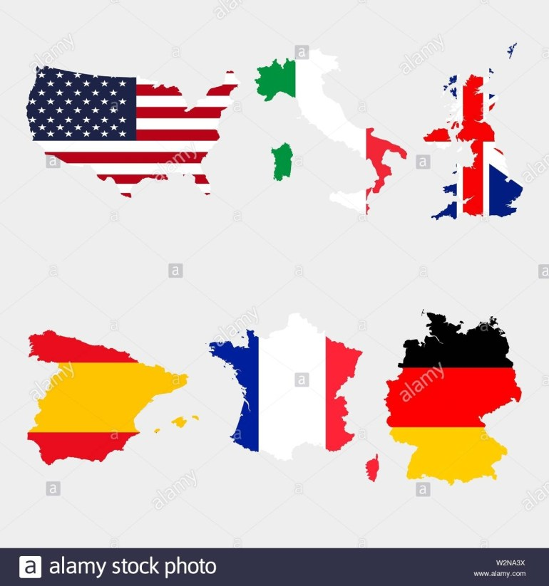 Set Of Map Flags Usa, Italy, United Kingdom, Spain, France, Germany with regard to Map Of Spain France And Germany