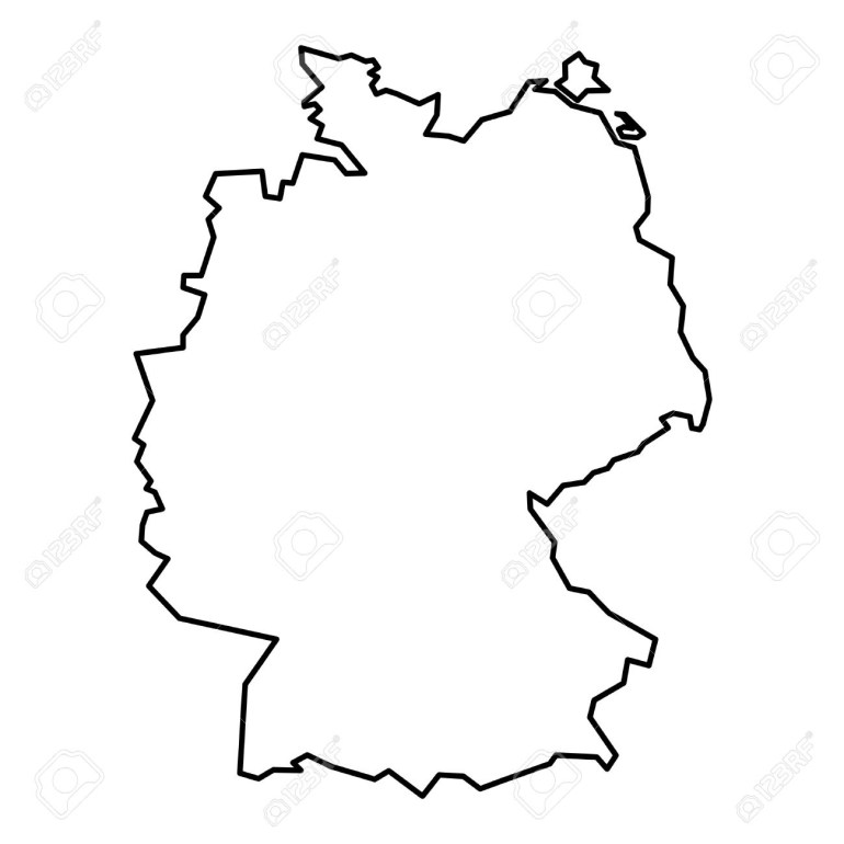 Simple Contour Map Of Germany. Black Outline Map Isolated On.. intended for Germany Map Black And White