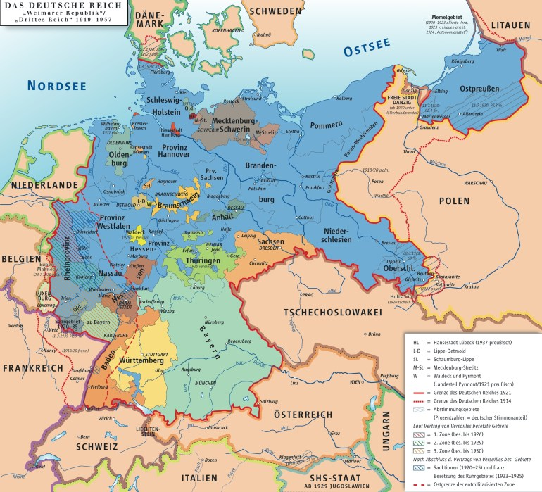 States Of Weimar Germany Map 1919-1937 - Vgs German Sig within Map Of Germany In German Language
