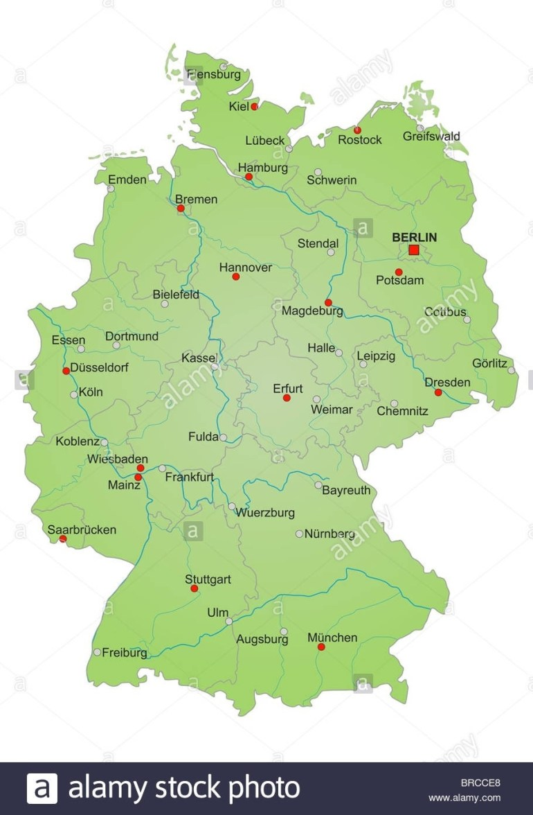 Stylized Map Of Germany Showing States Rivers And Big Cities City with Map Of Germany With States And Major Cities