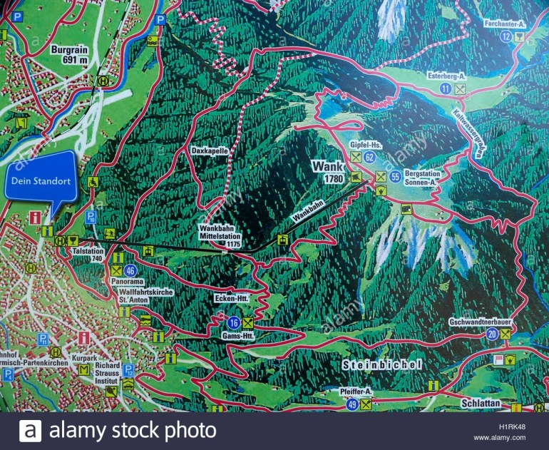 The Alps Germany Garmisch Partenkirchen Mount Wank Mountain Map within Map Of Alps In Germany
