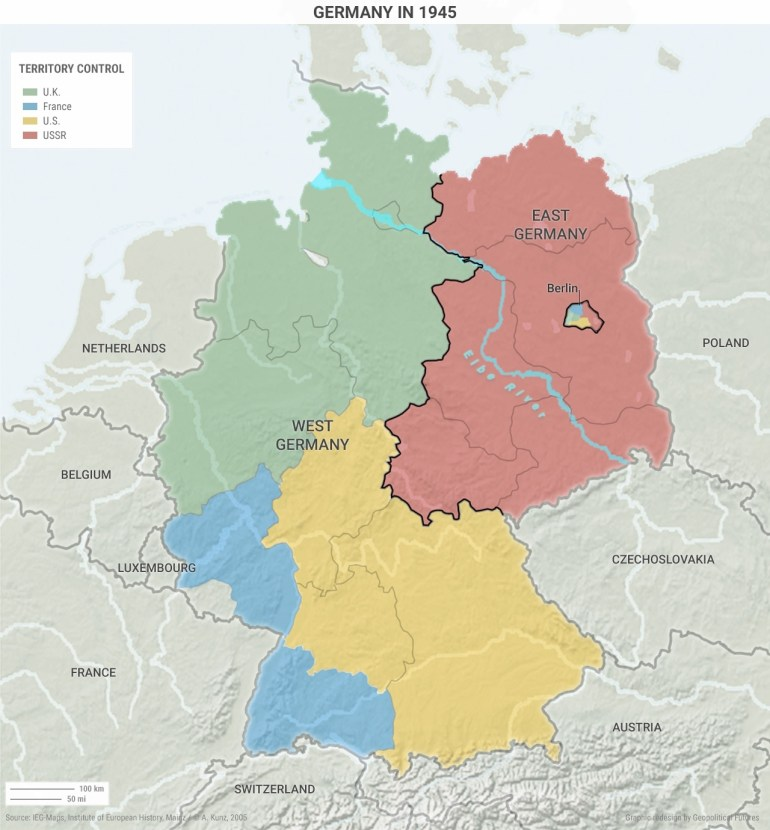 The Causes Of Germany's Political And Social Divide | Geopolitical with regard to East Germany Map 1945
