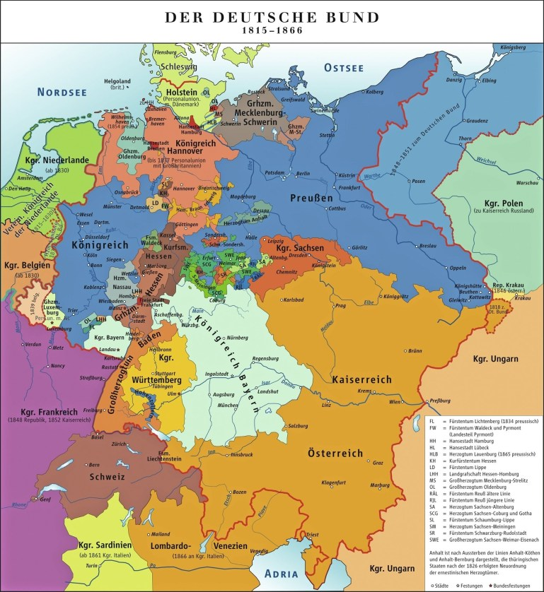 The German Confederation 1815. States, Duchies And Fiefdoms in Map Of German States Before Unification