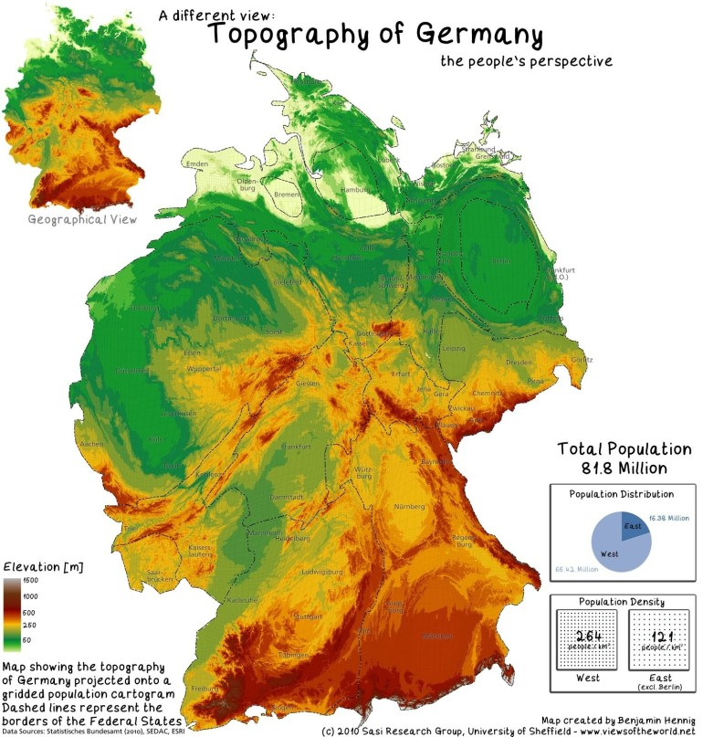 The Population Of Germany - Views Of The World | Core Knowledge pertaining to Germany Topographic Map