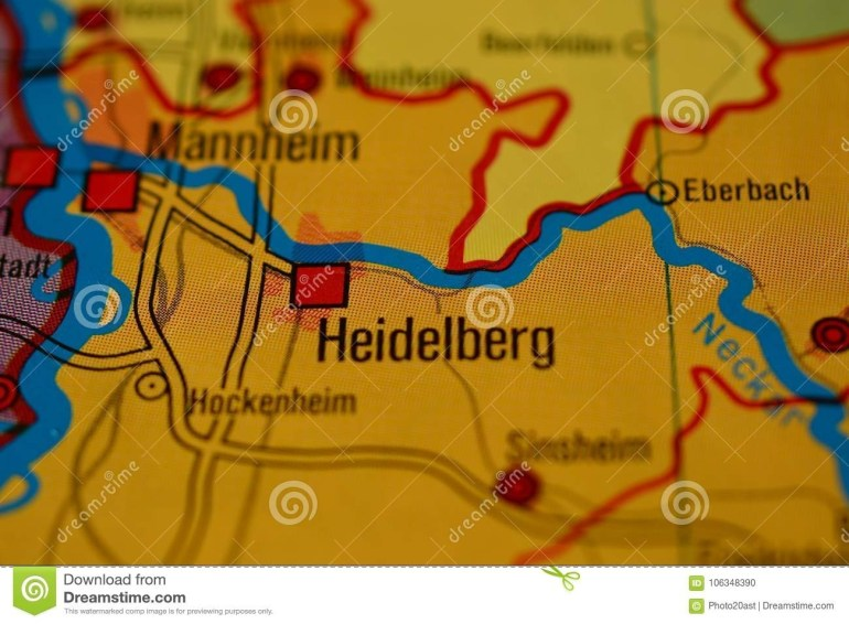 The Word Heidelberg On The Map Stock Photo - Image Of Closeup pertaining to Heidelberg Germany On Map