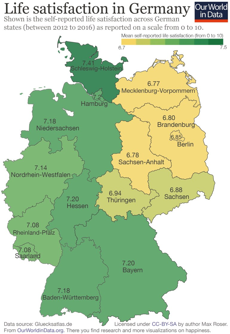 There Is A 'happiness Gap' Between East And West Germany - Our World for East Germany Map