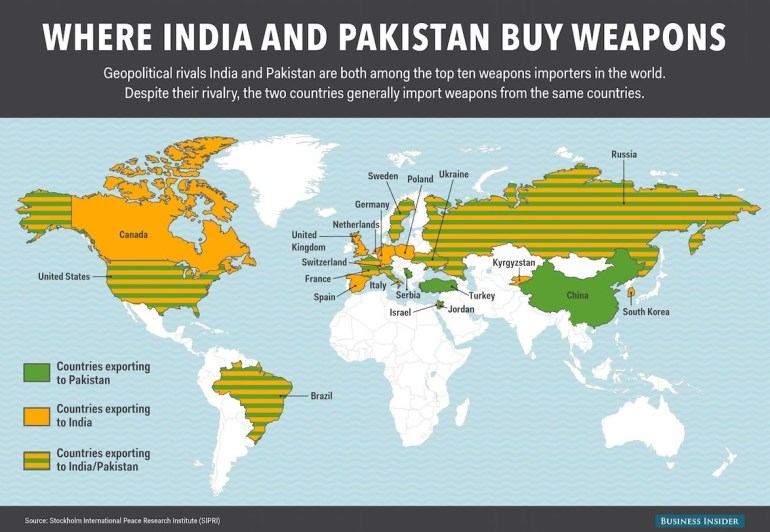 This Map Shows Which Countries Export Weapons To India And Pakistan with regard to World Map Germany And India