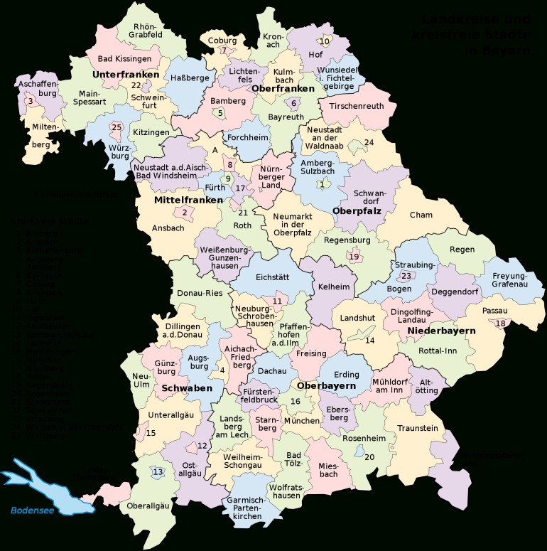 Towns In Bavaria Germany | Map Of Bavaria With Its Districts And within Detailed Map Of Bavaria Germany