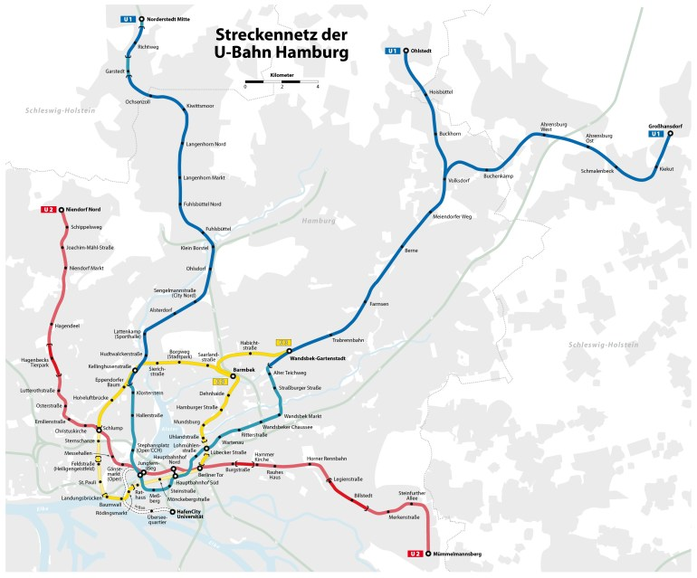 U-Bahn: Hamburg Metro Map, Germany pertaining to Metro Map Hamburg Germany