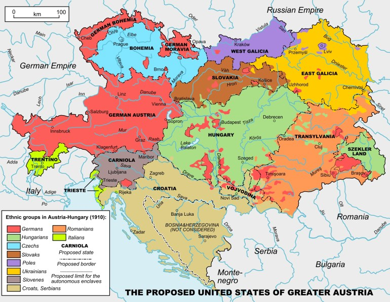 United States Of Greater Austria - Wikipedia regarding Map Of Germany Austria Hungary Czech Republic