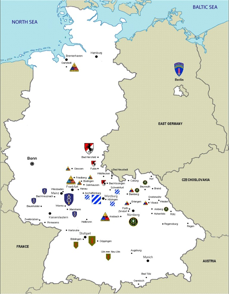 Us Army Units In West Germany, 1987 | U. S. Army - 9Th Ordnance within British Army Bases In Germany Map
