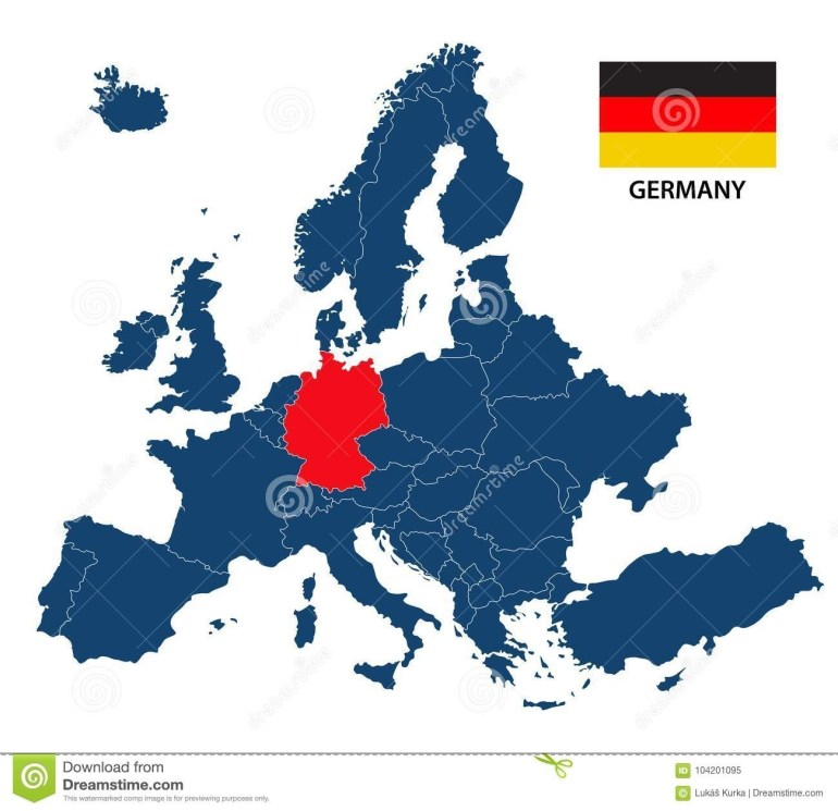Vector Illustration Of A Map Of Europe With Highlighted Germany in Hamburg Germany Map Europe