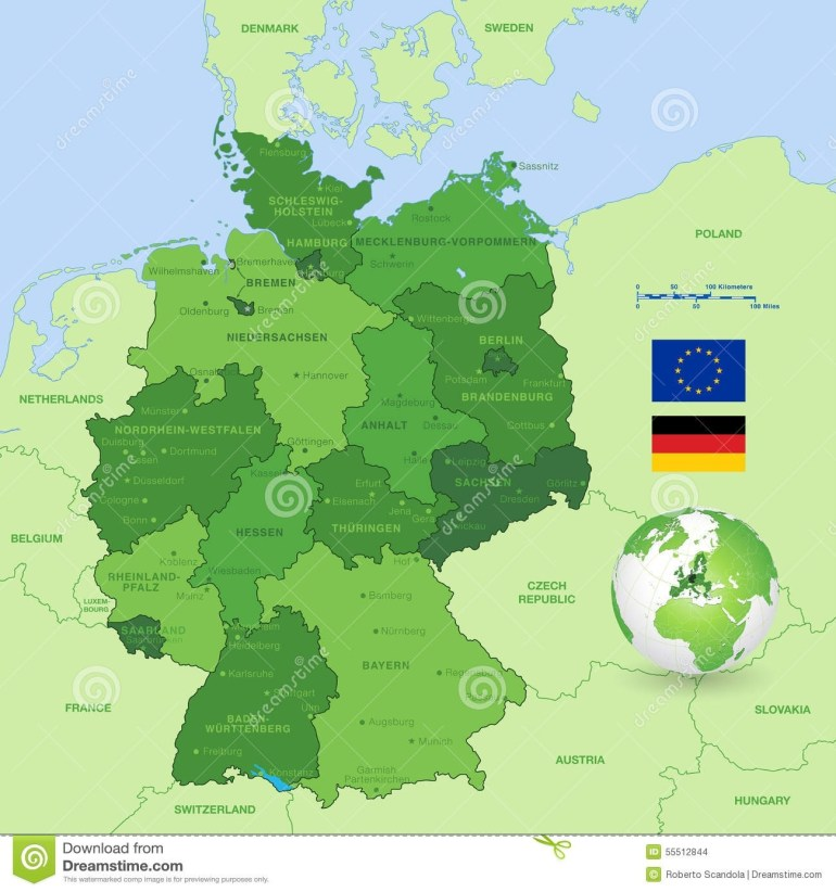 Vector Map Of Germany Stock Vector. Illustration Of Computer - 55512844 within Map Of Germany And Surrounding Countries With Cities
