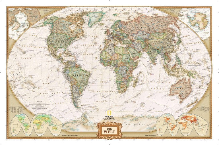 World Map Executive, German with World Map In German Language