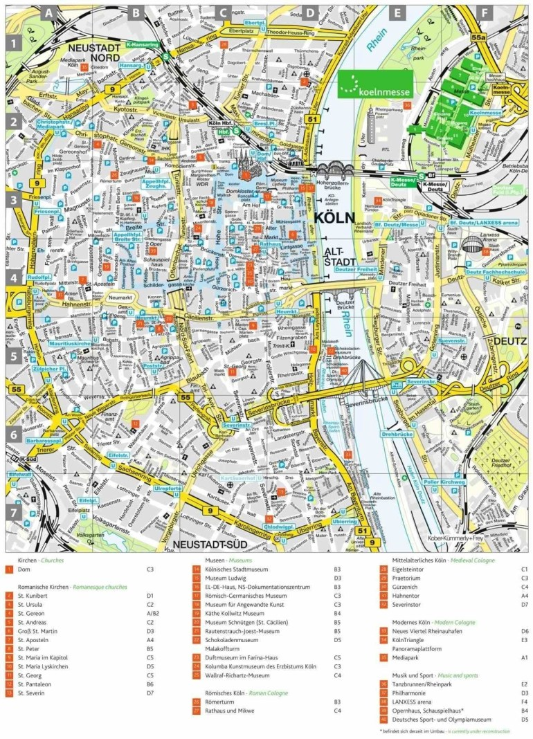 Youlonely S Related Europe · Of Cologne Germany Map Area Hotels throughout Tourist Map Of Cologne Germany