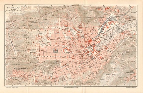 1897 Antique City Map Of Stuttgart. Kuriosart Antique (Med throughout Stuttgart On World Map