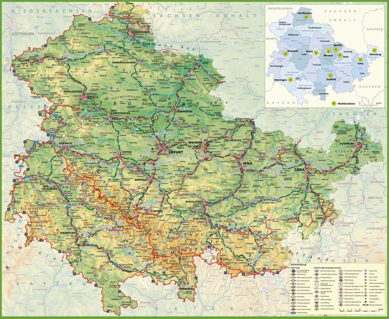 Large Thuringia Maps For Free Download And Print | High within Stuttgart City Map Printable
