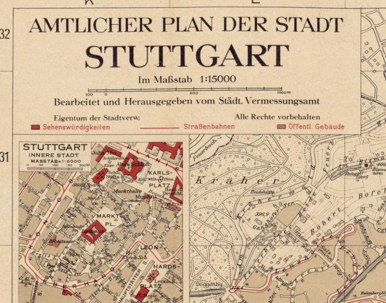 Old Map Of Stuttgart Germany 1925 Vintage Map - Vintage pertaining to Maps Of Stuttgart Germany