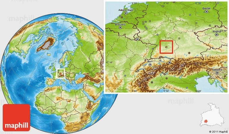 Physical Location Map Of Stuttgart with regard to Map Of Stuttgart Germany And Surrounding Area