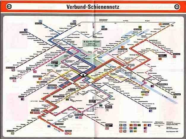 Scans From Collections pertaining to Stuttgart Germany U Bahn Map