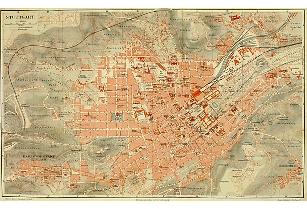 Stuttgart, Germany, C. 1880 On Onekingslane. Map Of inside Maps Of Stuttgart Germany