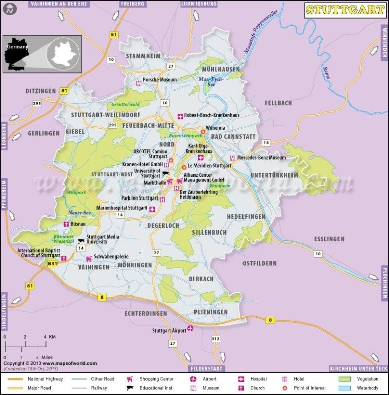 Stuttgart Germany Map - Stuttgart Area Map (Germany) in Show Stuttgart On Map Of Germany