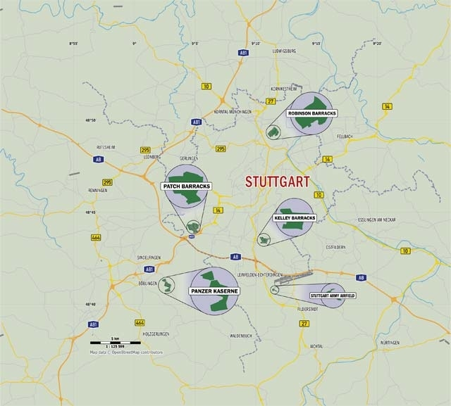 The Stuttgart Military Community Installations with Stuttgart Map In Germany