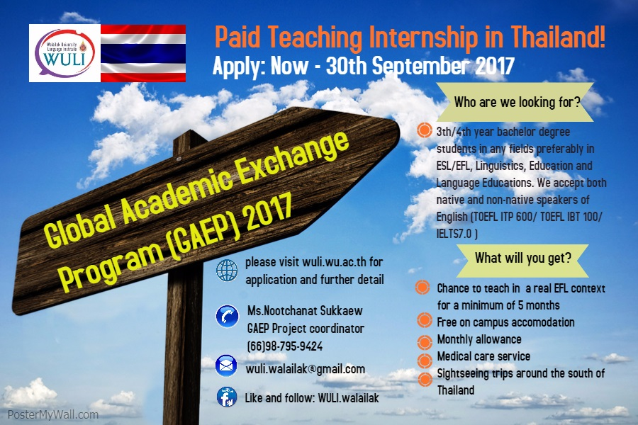 Global Academic Exchange Program(GAEP)2017 in Thailand (Paid)