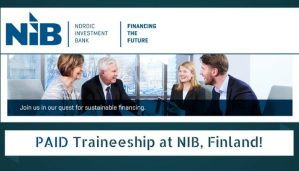 Paid Traineeship at Nordic Investment Bank (NIB) in Finland