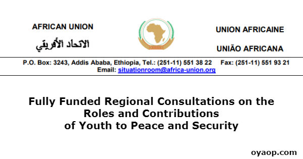 Fully Funded Regional Consultations on the Roles and Contributions of Youth to Peace and Security