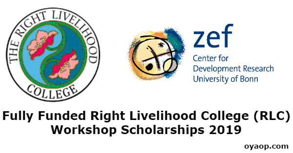 Fully Funded Right Livelihood College (RLC) Workshop Scholarships 2019