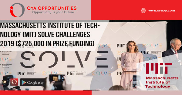 Massachusetts Institute of Technology (MIT) Solve Challenges 2019 ($725,000 in prize funding)