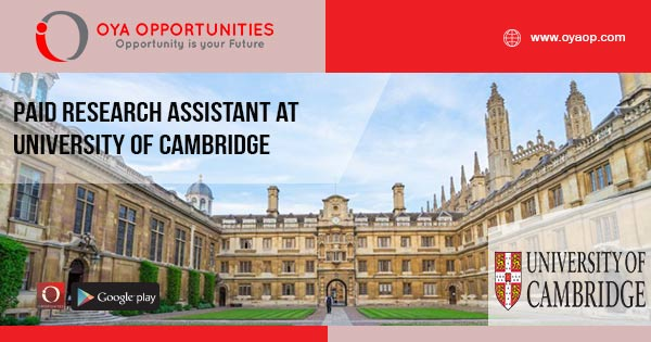 Paid Research Assistant at University of Cambridge
