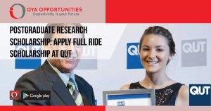 Postgraduate Research Scholarship | Apply Full Ride Scholarship at QUT