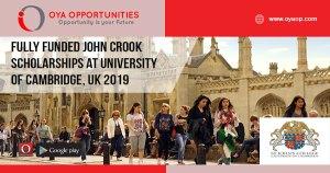 Fully Funded John Crook Scholarships at University of Cambridge, UK 2019